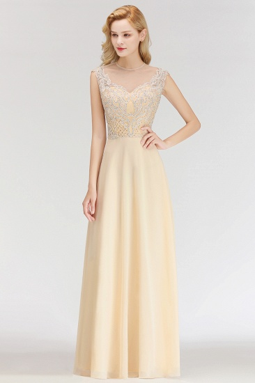 Modest Jewel Champagne Lace Bridesmaid Dresses with Beadings_5