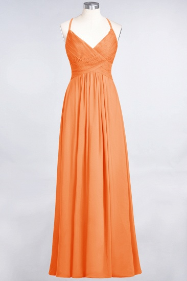 Affordable Chiffon Ruffle V-Neck Bridesmaid Dress with Spaghetti Straps_15
