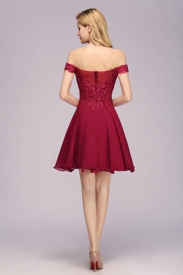 Gorgeous Lace Off-the-shoulder Short Burgundy Bridesmaid Dresses Online_3
