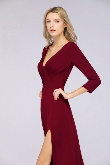 Popular Spandex Long-Sleeves Burgundy Bridesmaid Dresses with Side-Slit_37