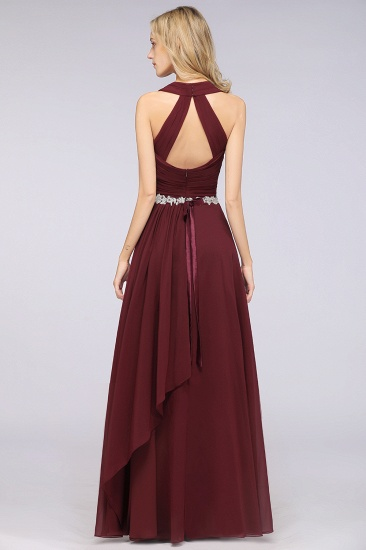 Elegant Chiffon Halter V-Neck Ruffle Bridesmaid Dress with Appliques Sashes_3