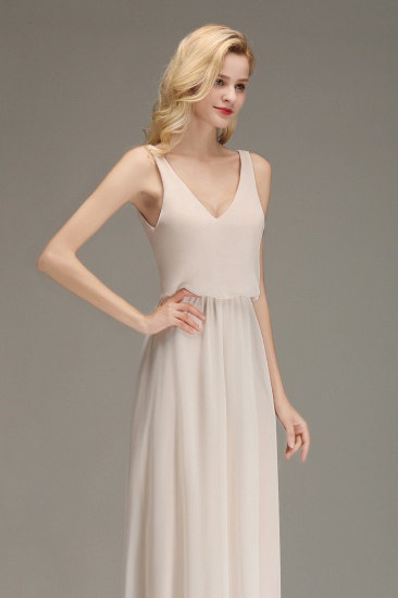Elegant Straps V-Neck Long Affordable Bridesmaid Dresses with Ruffle_8