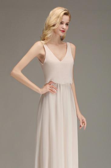 BMbridal Elegant Straps V-Neck Long Affordable Bridesmaid Dresses with Ruffle_8