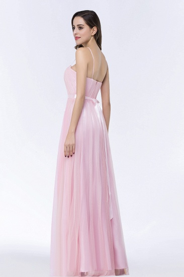 Modest Spaghetti-Straps Sweetheart Long Bridesmaid Dress with Sash_7
