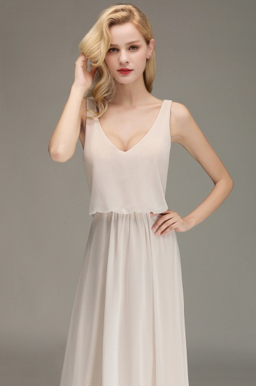 Elegant Straps V-Neck Long Affordable Bridesmaid Dresses with Ruffle_9