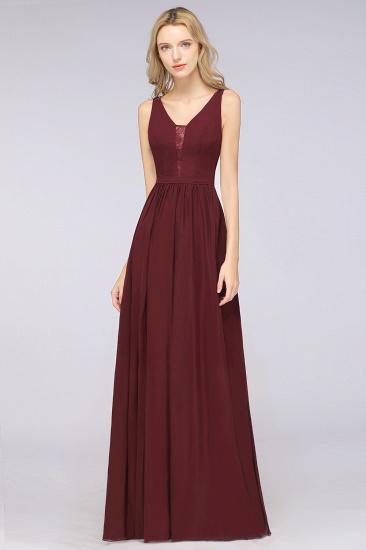 BMbridal Chic Ruffles Straps Chiffon Lace Burgundy Bridsmaid Dress Online_5