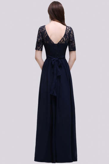 Affordable Lace Scoop Dark Navy Bridesmaid Dresses with Half-Sleeves_3