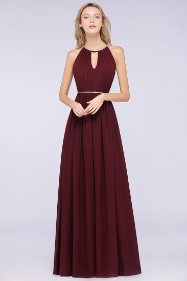 Chic Burgundy Halter Long Backless Bridesmaid Dress with Beadings_1