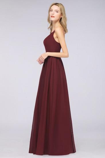 BMbridal Sexy Deep-V-Neck Appliques Burgundy Chiffon Bridesmaid Dress with Slit_6