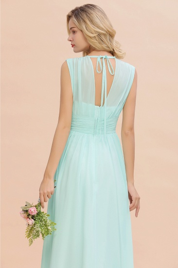 Elegant Chiffon V-Neck Ruffle Long Bridesmaid Dresses Affordable_58