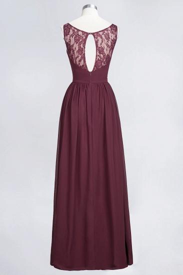 BMbridal Chic Ruffles Straps Chiffon Lace Burgundy Bridsmaid Dress Online_11