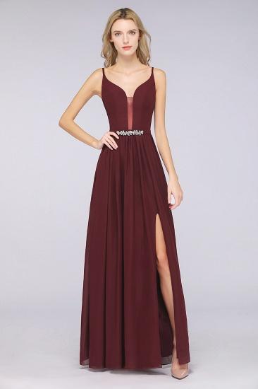 BMbridal Sexy Deep-V-Neck Appliques Burgundy Chiffon Bridesmaid Dress with Slit_1