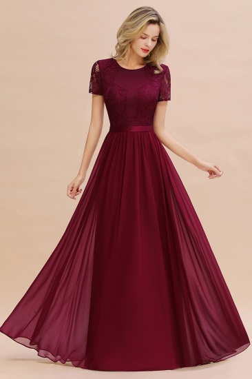 BMbridal Elegant Chiffon Lace Jewel Short-Sleeves Affordable Bridesmaid Dress