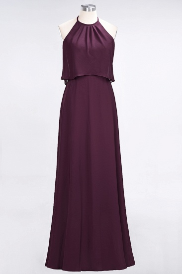 Gorgeous Chiffon Flounced Crinkle Sheath Long Burgundy Bridesmaid Dresses_20