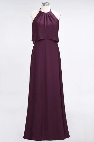 BMbridal Gorgeous Chiffon Flounced Crinkle Sheath Long Burgundy Bridesmaid Dresses_20
