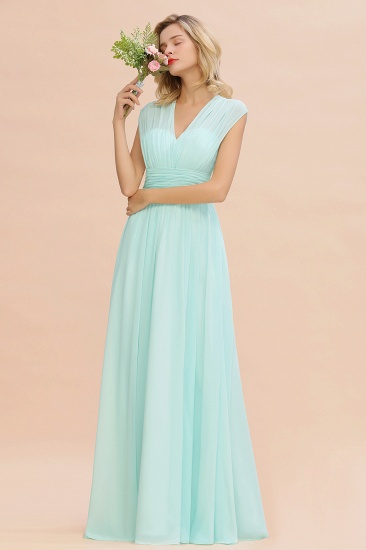 Elegant Chiffon V-Neck Ruffle Long Bridesmaid Dresses Affordable_56