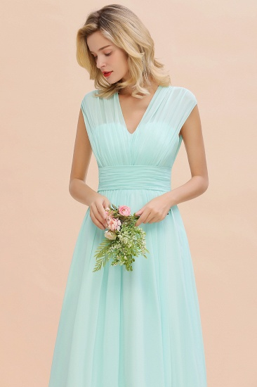 Elegant Chiffon V-Neck Ruffle Long Bridesmaid Dresses Affordable_57