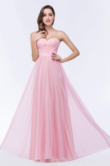 Long Strapless Bridesmaid Dresess and Pleated Bodice