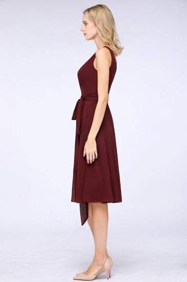 Elegant Straps V-Neck  Ruffle Short Burgundy Bridesmaid Dress with Bow Sash_6