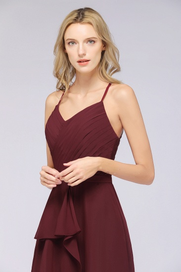 Affordable Chiffon Halter V-Neck Ruffle Burgundy Bridesmaid Dresses_8