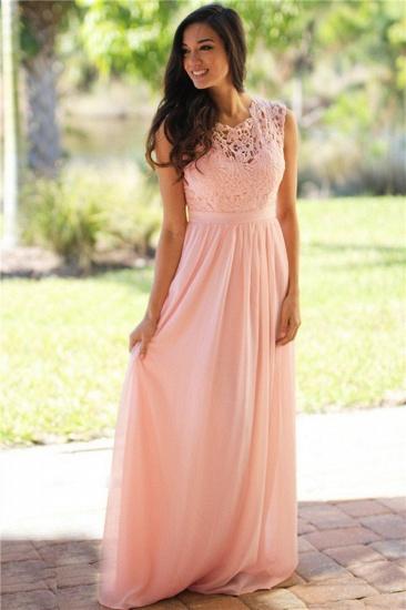 BMbridal Elegant Sheath Crew Sleeveless Lace Top Chiffon Bridesmaid Dress_1