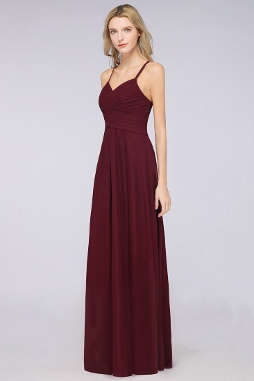 Affordable Spaghetti Straps V-Neck Burgundy Chiffon Bridesmaid Dress with Keyhole Back_56