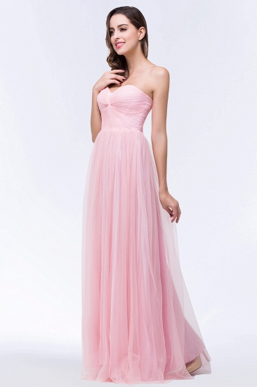 BMbridal Chic Tulle Ruffle Strapless Sweetheart Floor-Length Bridesmaid Dresses_5