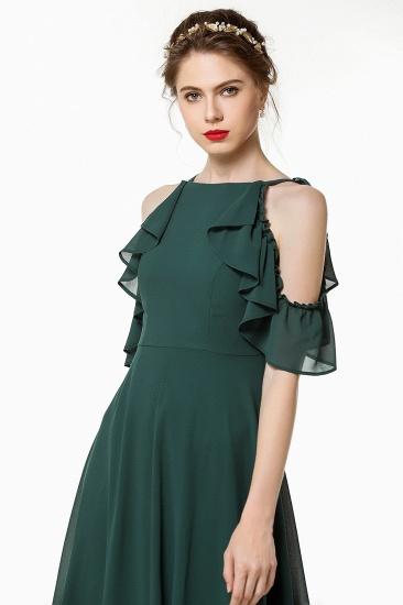 Chic Cold-shoulder Ruffle Dark Green Chiffon Bridesmaid Dresses Online_6