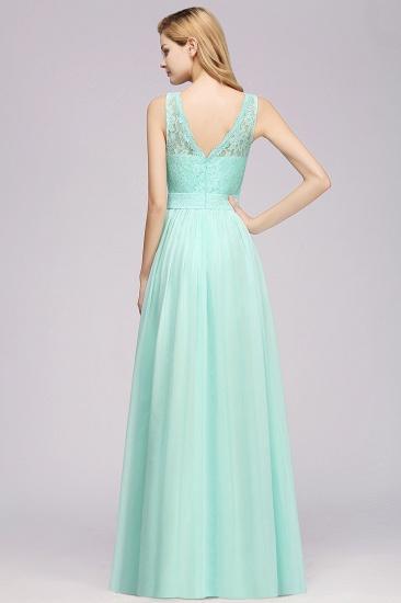 Elegant Chiffon Lace Scalloped Sleeveless Ruffle Bridesmaid Dresses_3