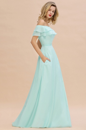 Exquisite Off-the-shoulder Slit Mint Green Bridesmaid Dress With Pockets_56