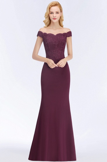 BMbridal Elegant Mermaid Off-the-Shoulder Burgundy Bridesmaid Dresses with Lace_5