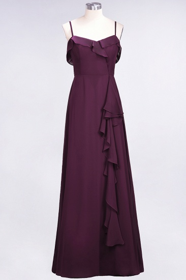 Elegant Spaghetti Straps Ruffle Burgundy Chiffon Dresses Affordable_20