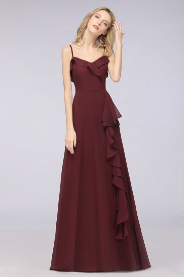Elegant Spaghetti Straps Ruffle Burgundy Chiffon Dresses Affordable_54