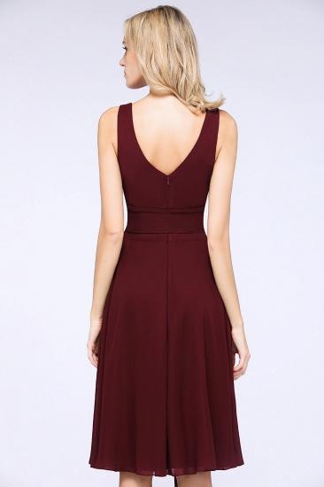 Elegant Straps V-Neck  Ruffle Short Burgundy Bridesmaid Dress with Bow Sash_3