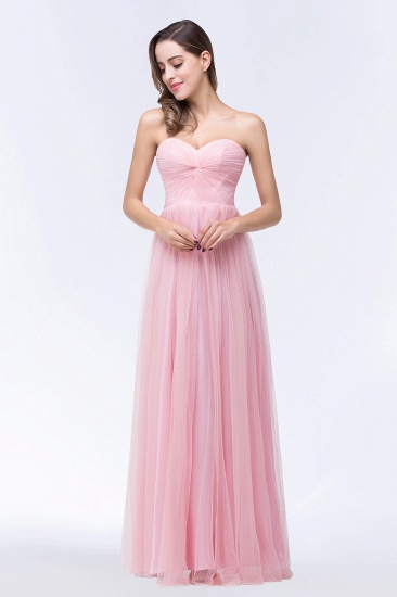 BMbridal Chic Tulle Ruffle Strapless Sweetheart Floor-Length Bridesmaid Dresses_6
