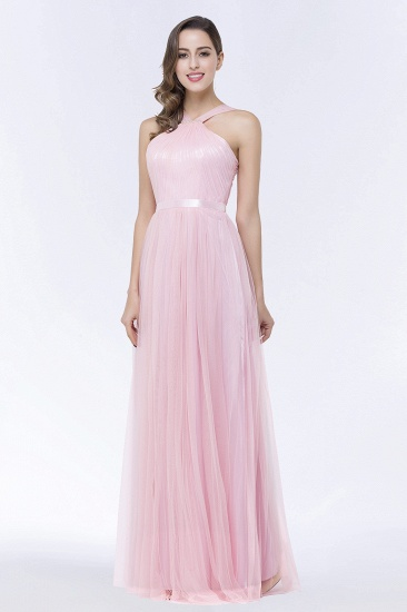 BMbridal Chic Tulle Ruffle Halter Sleeveless Pearls Bridesmaid Dress with Sash_5
