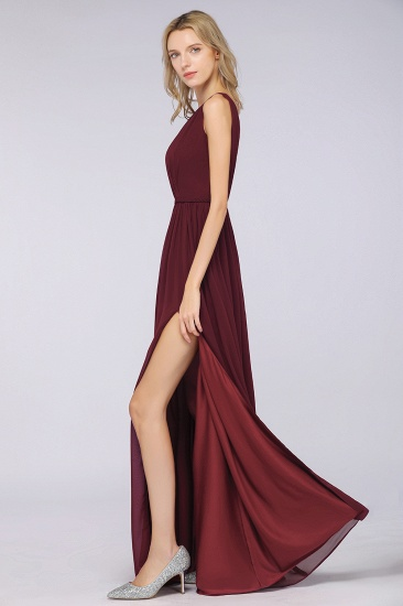 Glamorous TulleV-Neck Ruffle Burgundy Bridesmaid Dress Online_56