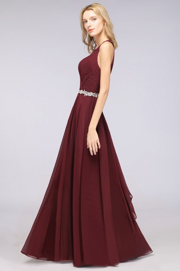 Elegant Chiffon Halter V-Neck Ruffle Bridesmaid Dress with Appliques Sashes_6