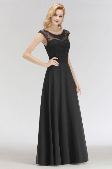 BMbridal Elegant Chiffon Long Lace Black Bridesmaid Dresses Online_5