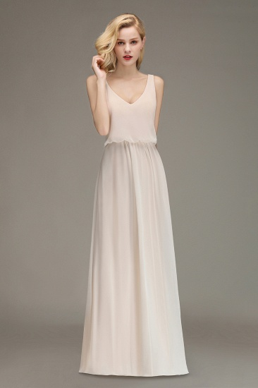 Elegant Straps V-Neck Long Affordable Bridesmaid Dresses with Ruffle_1