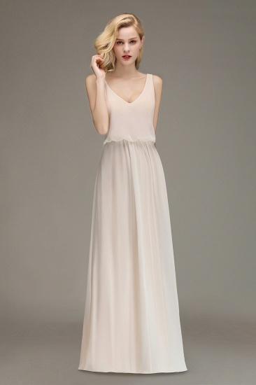BMbridal Elegant Straps V-Neck Long Affordable Bridesmaid Dresses with Ruffle_1