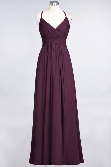 Affordable Chiffon Ruffle V-Neck Bridesmaid Dress with Spaghetti Straps_19