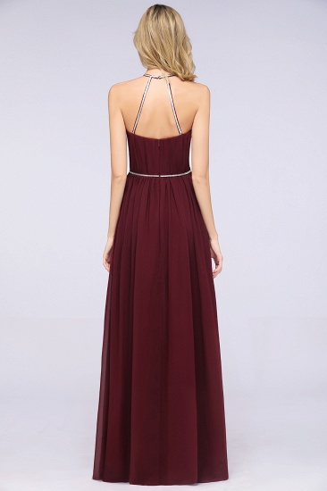 Chic Burgundy Halter Long Backless Bridesmaid Dress with Beadings_3