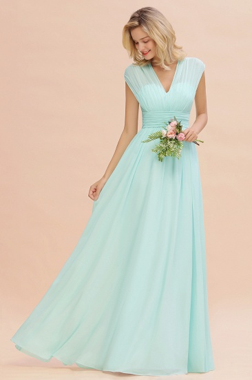 Elegant Chiffon V-Neck Ruffle Long Bridesmaid Dresses Affordable_54