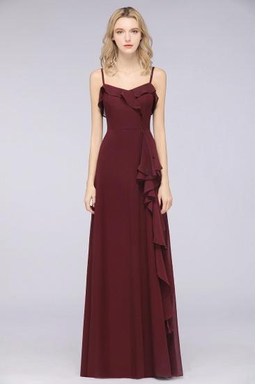 Elegant Spaghetti Straps Ruffle Burgundy Chiffon Dresses Affordable_51