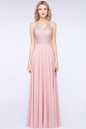Modest V-Neck Sleeveless Pink Affordable Bridesmaid Dresses Lace_4