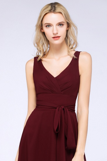 Elegant Straps V-Neck  Ruffle Short Burgundy Bridesmaid Dress with Bow Sash_7