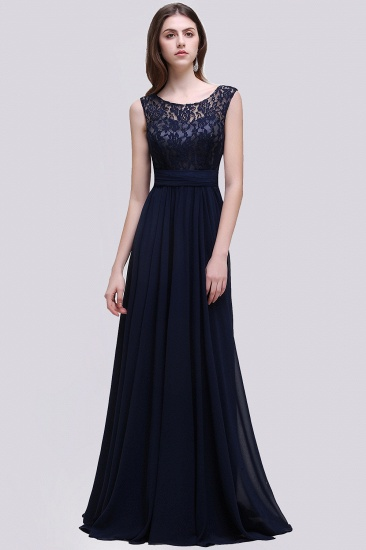 Vintage Lace Scoop Sleeveless Dark Blue Bridesmaid Dress with V-Back_1
