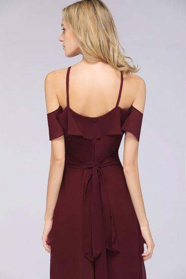 Affordable Spaghetti Straps Burgundy Long Bridesmaid Dress With Bow Sash_8