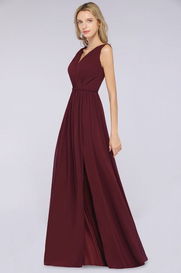 Glamorous TulleV-Neck Ruffle Burgundy Bridesmaid Dress Online_55
